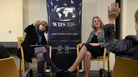Secretary of the Air Force Deborah Lee James speaks about the importance of women in national security at the Stimson Center, 2014.