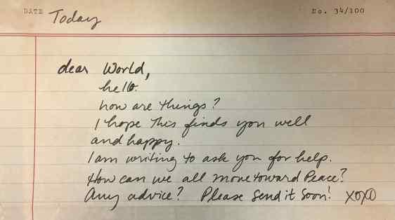 Dear World, Move Us Toward Peace Letter Writing Project