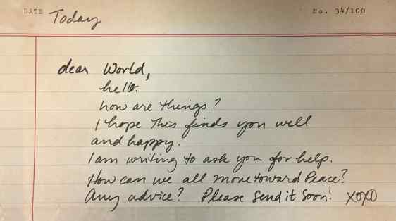 Dear World, Move Us Toward Peace Letter Writing Project