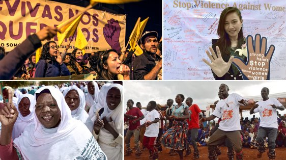 photo collage of demonstrations around the world to stop violence against women