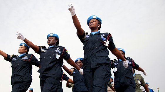 Women UN Peacekeepers march