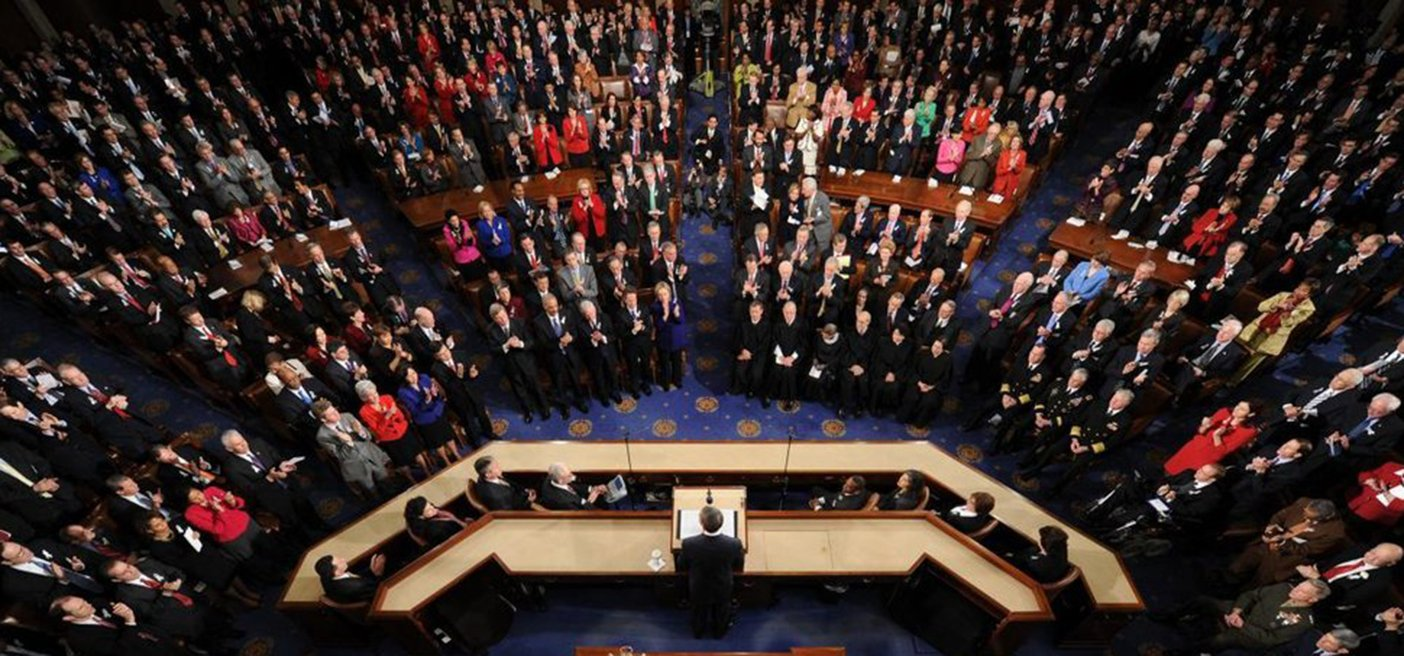 above view of the US Congress being sworn into session