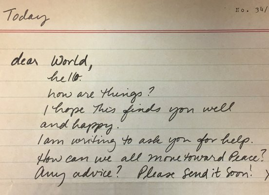 Dear World, Move Us Toward Peace Letter Writing Project - Image by Sahana Dharmapuri