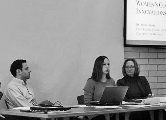 Marie Berry speaks at Innovations in Peacebuilding presentation at University of Denver