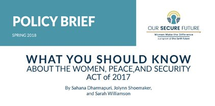 Women Peace Security Policy Brief